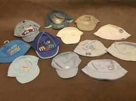 BUNDLE OF BABY SUMMER HATS - 12 HATS - SIZE 0-6 MONTHS