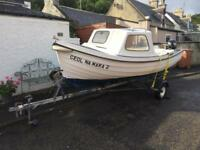 Fishing Boat Orkney Longliner 16 with cuddy Mercury 8hp 4 Stroke Outboard and Snipe road trailer