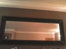Brown suede large mirror