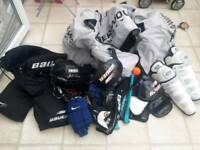 Ice hockey kit gloves pads helmet