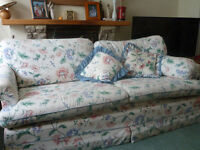 3 Seater Floral print sofa bed. Reasonable condition with matching cushions. Comfortable matresss.