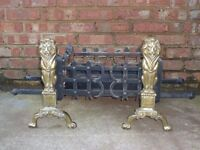 Fire Grate with Solid Brass Lion Andiron Set