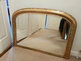 Beautiful large gilt overmantle mirror