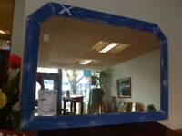 Large Blue Frame Wall Mirror with Scottish Twist