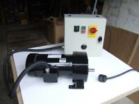 Electric DC motor, industrial variable speed with gearbox and drive unit