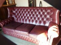 CHESTERFIELD MONKS STYLE OXBLOOD LEATHER 3 PIECE SUITE, LOVELY CONDITION, BARGAIN £575, CAN DELIVER
