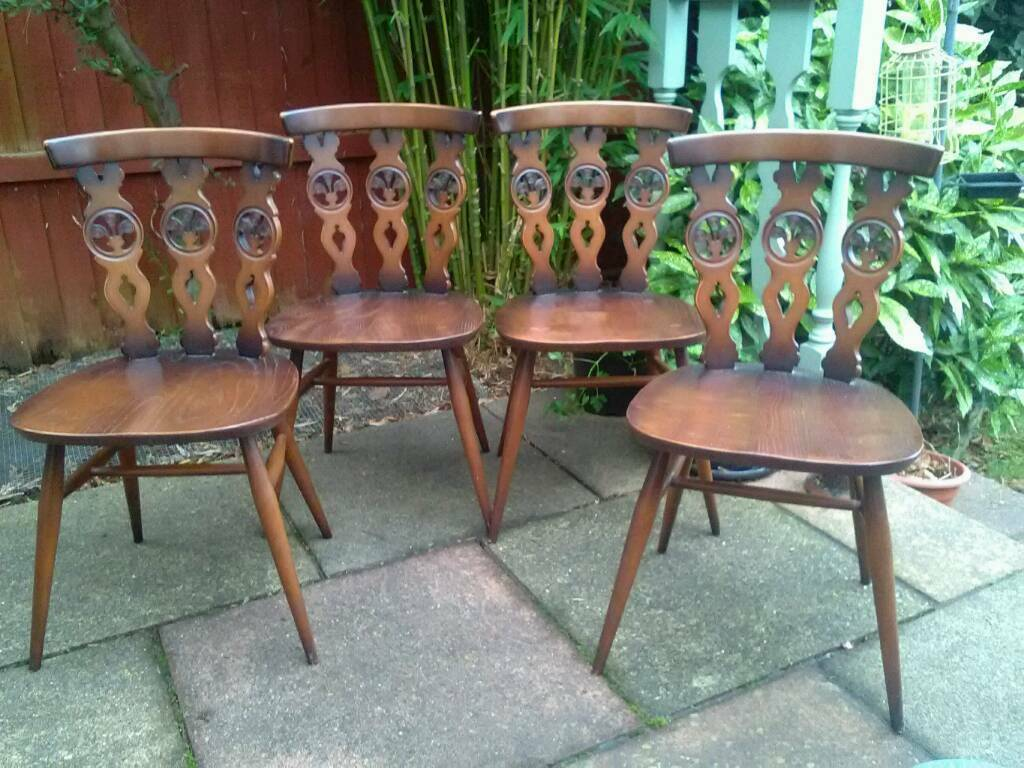 4 x Ercol Dining Chairs Vintage 1960 great