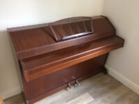 EAVESTAFF MINI UPRIGHT PIANO IN MAHOGANY IN WORKING ORDER WITH PIANO STOOL