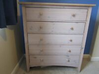 Chest of drawers, Solid Pine with white wash finish.