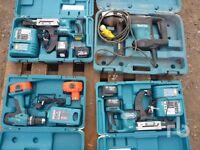 makita tools include big makita breaker and auto feed screw drivers