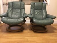 Ekornes Stressless reclining armchairs and footstool