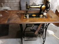 Vintage Jones sewing machine and table