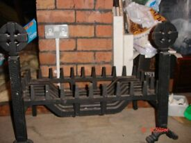 Unused Cast Iron Celtic Dogs and Grate for open fire
