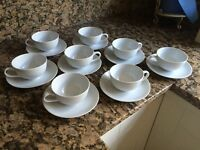 8 HABITAT WHITE CHINA CUPS AND SAUCERS