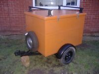 MARINE PLY FIBRE GLASS COVERED 4' X 3' TRAILER with LID AND ROOF BARS
