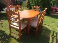 Solid Chunky Pine Dining Table and Six Chairs