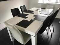 White high gloss dining table /6 chairs
