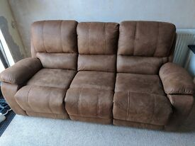 3 seater leather/suede sofa recliner