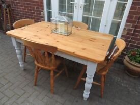 Shabby Chic Pine Table & 4 Chairs