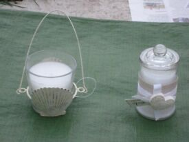 2 Decorative Ornamental Candles in Glass Containers for £7.00
