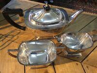 Silver plated tea set oblong shape art deco