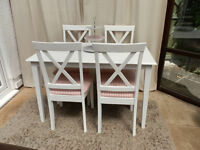 White Painted Table and 4 Chairs