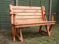 Wooden Folding Garden Bench Table. Great Space Saver. Bespoke design. Shabby Chic, home and garden