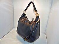 Michael Kors Fulton Lg Top Zip Shoulder / Hobo Bag Pebbled Leather Black