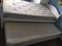 White wooden Children's trundle bed with quality single mattresses (Laura Ashley)
