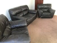 2 seated leather sofa and chairs