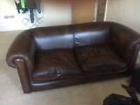 2 seater brown faded leather handmade sofa