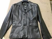 Black Women Calculus Leather Jacket London Size Small