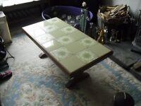 "Green Tile Top Pine Coffee Table, 0.55m(37.5"")L x 0.495m(19.5"")W x 0.39m(15.25"") H"