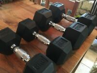 TNP Rubber Hex Dumbbells 8KG (pair) and 12KG (pair)