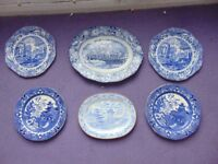 6 Blue/White plates for sale