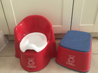 BabyBjörn Red Potty Chair & BabyBjörn step stool
