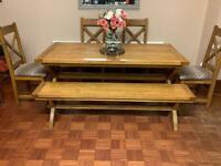 Solid Wood Dining Table With Bench and 4 Chairs