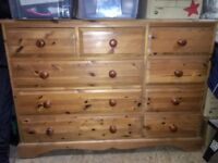 Pine Chest of Drawers (large - 9 drawers). Used but in good condition. Well constructed.