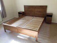Kingsize Ikea sprung bedframe with matching bedlockers