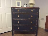 Solid upcycled very elegant chest of drawers in chalk graphite and gold effect finish