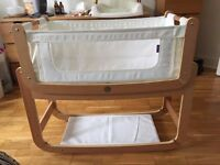 Snuzpod 3 in 1 bedside crib (natural wood) - excellent condition