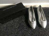 Silver embellished pointed flat shoes (quiz) 2x size 5, 1x size 7 & 1x size 8