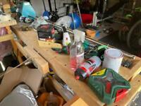 Assorted stuff - curtain rail , large mirror , karcher, workbench