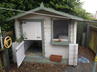 REDUCED for quick sale! -- Lovely wendy house / playhouse / log cabin solid wood - £75 no offers