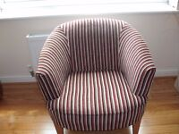 Next Iona Chair - Striped Chenille in Burgundy, Cream, Green & Brown