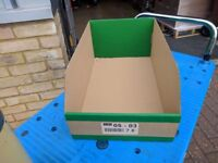 Quantity of K Bin stock boxes 500mmx300mmx200mm in packs of 25 for warehouse storage