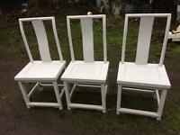 3x solid wood chairs