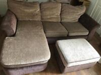 Corner sofa and storage pouffe
