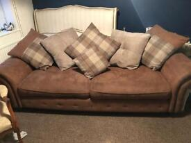 Dfs Large 3 seater settee / sofa and pouffe excellent condition