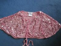 Vintage Style Pink Sequin 'Agenda' Shoulder Wrap/Cape